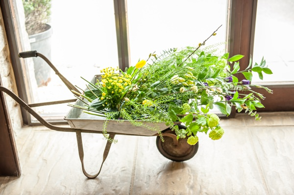 wheelbarrow wedding flowers