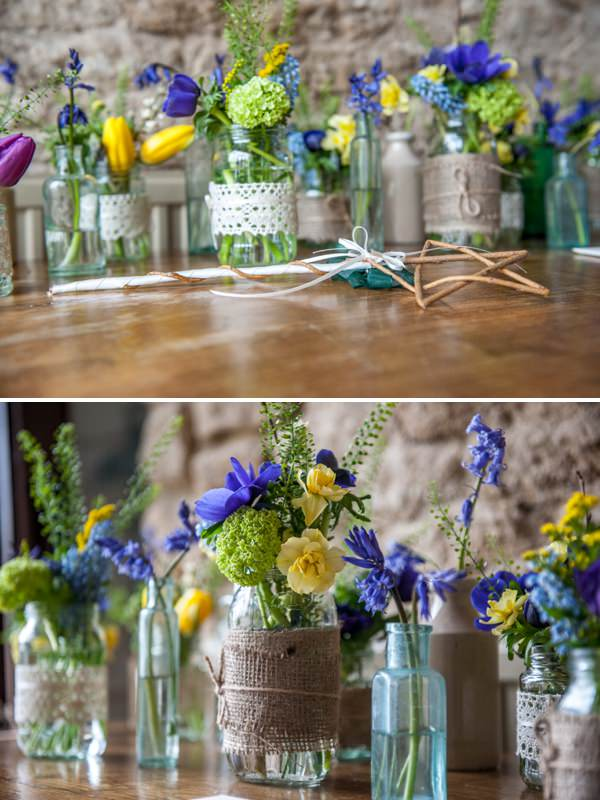 flowers in jars bottles homegrown diy wedding