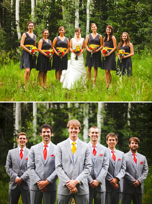 grey wedding party red yellow http://www.pier23photography.com/