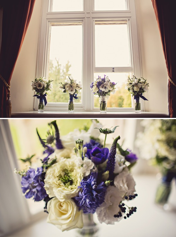 blue white wedding bouquet http://www.annaclarkephotography.com/