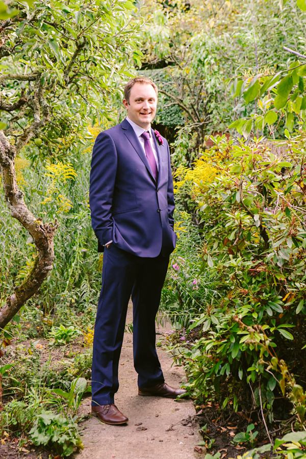 Navy Suit Groom Relaxed Back Garden Wedding http://bethmoseleyphotography.co.uk/