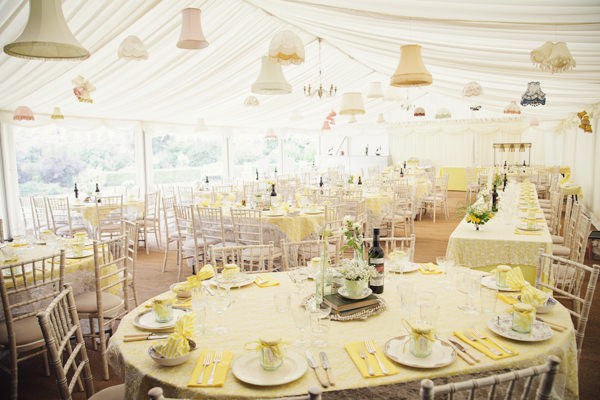 Marquee Bright Tea Party Yellow Wedding http://www.gemmawilliamsphotography.co.uk/