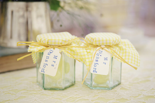 Jam Jar Favours Bright Tea Party Yellow Wedding http://www.gemmawilliamsphotography.co.uk/