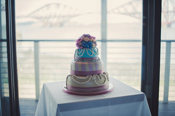Wedding Cake Pink & Blue Seaside Wedding http://www.samwilliamsonphoto.co.uk/