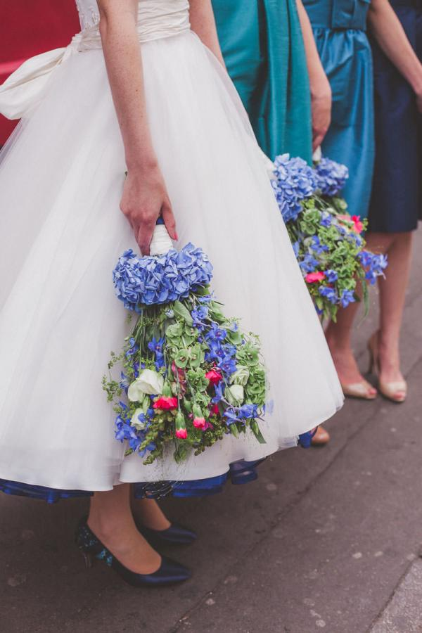 Blue Pink Green Bouquet Quirky London City Wedding www.jordannamarston.com/