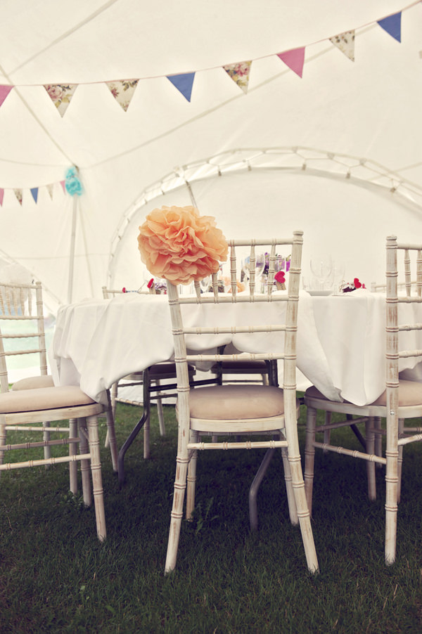 Chair Pom Pom Stylish Fun Humanist Wedding http://www.ruby-roux.com/