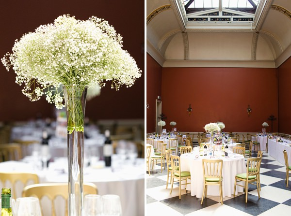 Chic Black Tie Hampton Court House Wedding Gypsophila Flowers http://www.clairestelle.com/