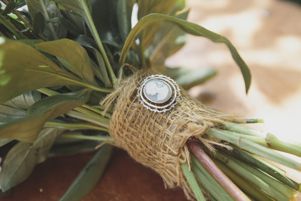 Indie Farm Wedding Hessian Broach Bouquet http://www.mirrorboxphotography.com/