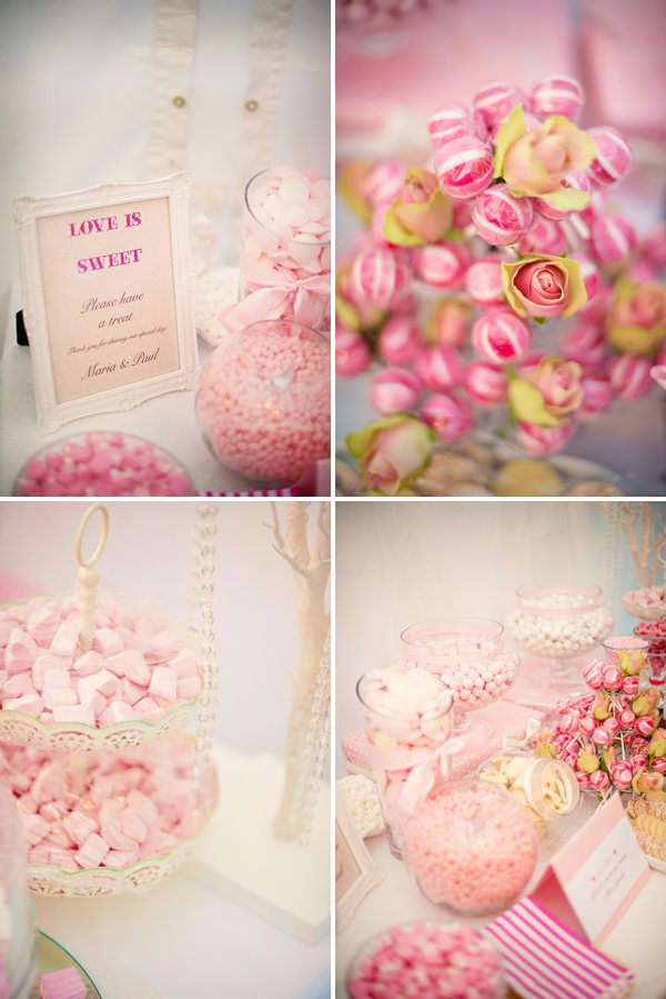 Pretty Pink Summer Marquee Wedding Sweetie Table http://www.photographybyvicki.co.uk/blog/