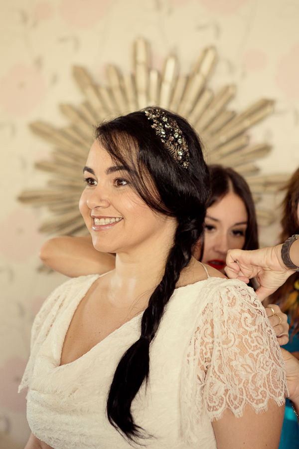 Magical Turquoise Beach Wedding Jenny Packham Hairpiece Plaited Hair Bride http://www.mariannetaylorphotography.co.uk/