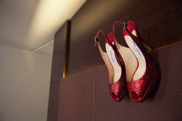 Chic City Film Wedding Red Glitter Jimmy Choos http://marthaandgeorge.com/