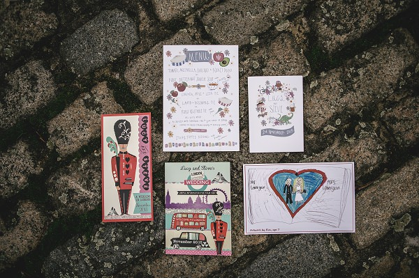 Multicoloured London Quirky Wedding Stationery http://www.kat-hill.com/