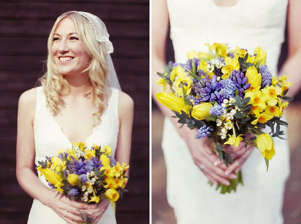 Daffodil Spring Wedding Bouquet Bluebells http://www.rebeccaweddingphotography.co.uk/