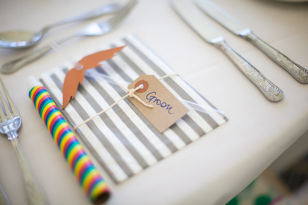 Colourful Fun Candy Wedding Stripe Bag Favour Luggage Tag Name http://www.julietteharrison.co.uk/
