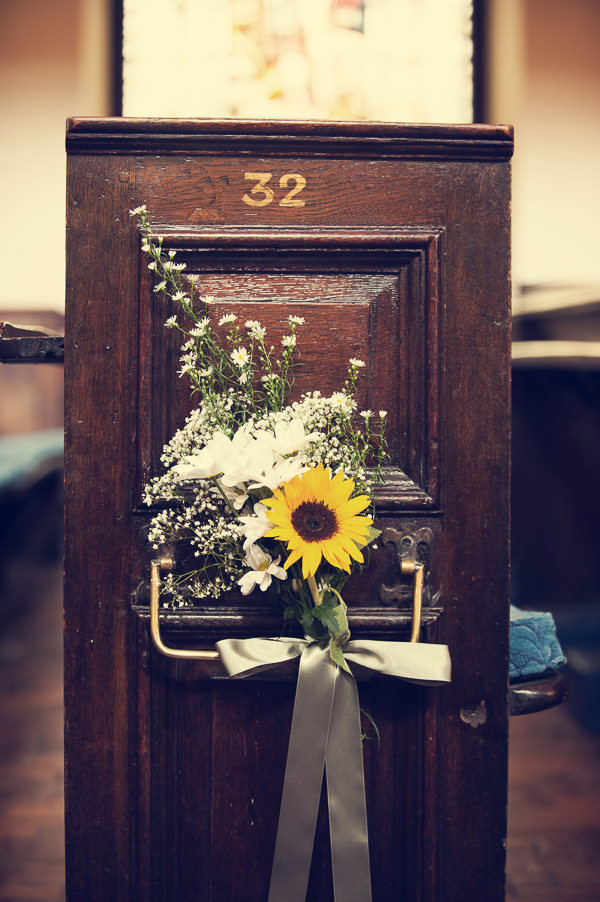 DIY Wedding Victoria Baths Manchester Sunflower Pew Ends http://www.mrsleeve.co.uk/