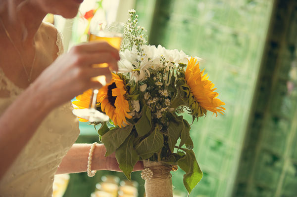 DIY Wedding Victoria Baths Manchester Sunflower Hessian Bouquet http://www.mrsleeve.co.uk/