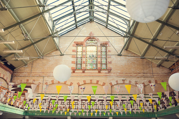 DIY Wedding Victoria Baths Manchester Bunting Lanterns http://www.mrsleeve.co.uk/