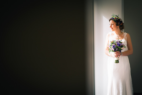 Simple Homemade Green & Purple Wedding Floral Bride Flowers Hair http://www.robdodsworth.co.uk/