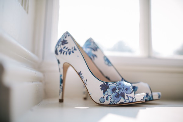 Colouful Crafty Origami Wedding Blue Floral Shoes http://mattbowenphotography.co.uk/