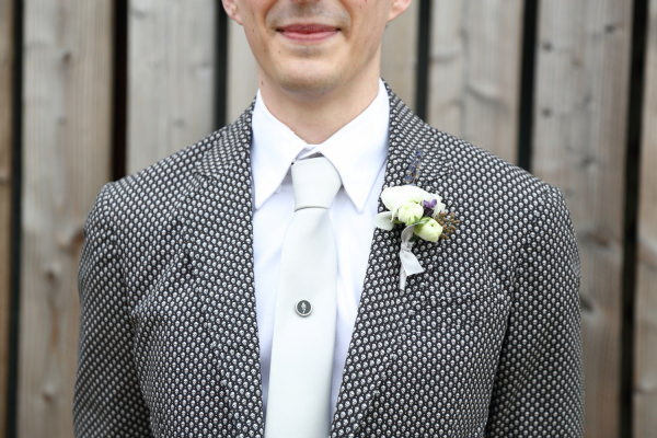 Woodland Animal Barn Wedding Skull Jacket Groom Alexander McQueen http://www.rebeccaprigmorephotography.com/