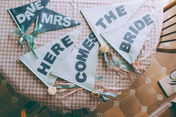 Eclectic Colourful Quirky Village Hall Wedding Here Comes The Bride Sign http://missgen.com/