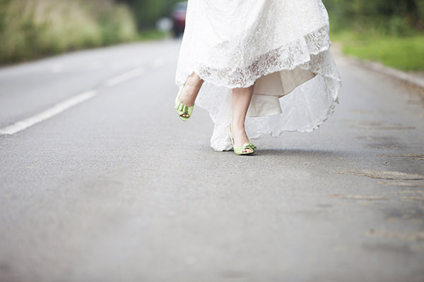 Lavender Farm Barn Wedding Green Shoes Bride http://www.jessicaholtphotography.com/