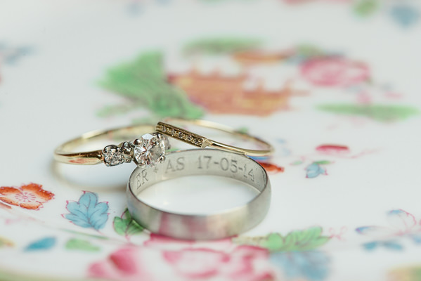 Coral & Green Rustic Wedding Engagement Rings http://www.riamishaal.com/