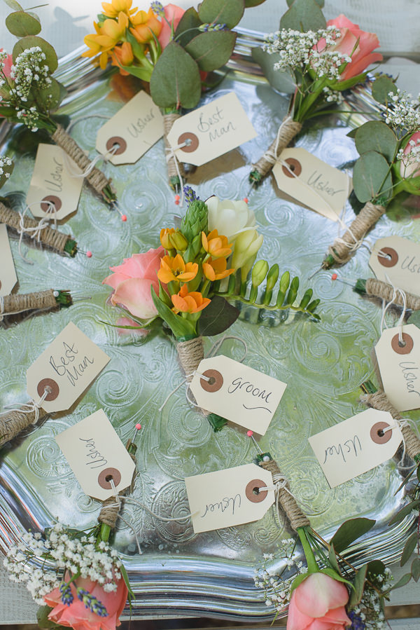 Coral & Green Rustic Wedding Buttonholes http://www.riamishaal.com/
