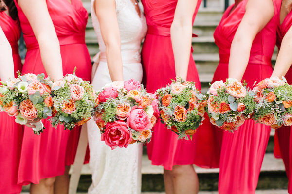 Stylish Rustic Coral Barn Wedding Bridesmaid Bouquets  http://hayleysavagephotography.co.uk/