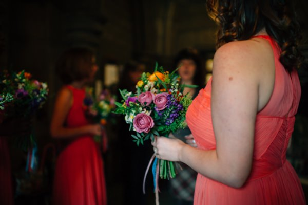 Colourful City Hall Wedding Bridesmaid Bouquet http://www.lisadevinephotography.co.uk/