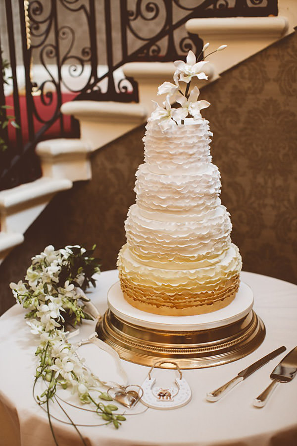 Classic Elegant Country House Wedding Ruffle Ombre Cake http://www.jayrowden.com/