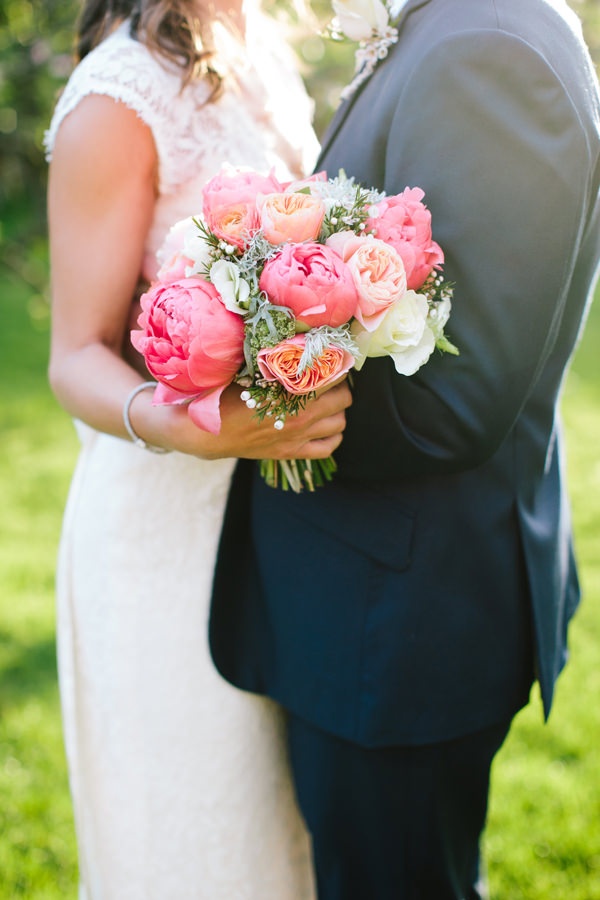 Stylish Rustic Coral Barn Wedding Pink Peony Bridal Spring Bouquet http://hayleysavagephotography.co.uk/