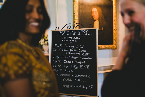 Gold Red Glam English Indian Wedding Blackboard Sign http://amybphotography.co.uk/