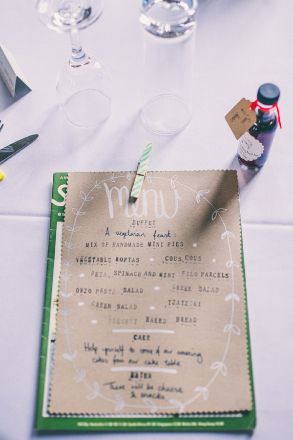 Crafty Hand Sewn Vintage Wedding Brown Paper Kraft Stationery Vegetrian Menu http://www.njphotographic.co.uk/