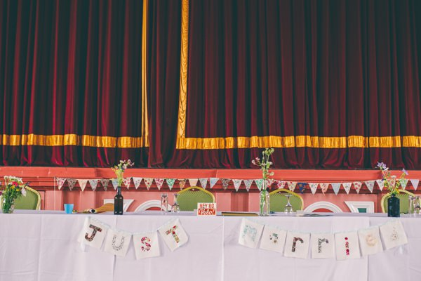 Crafty Hand Sewn Vintage Wedding Top Table Bunting Sign  http://www.njphotographic.co.uk/