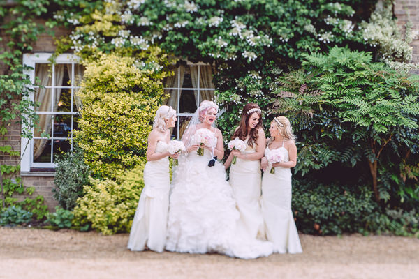 Marie Antoinette Pink Wedding White Bridesmaid Dresses http://www.annapumerphotography.com/