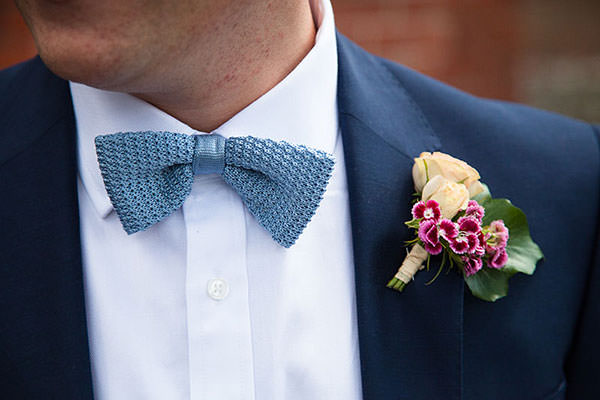 Colourful Crafty Cath Kidston Wedding Knitted Bow Tie Groom http://www.fitzgeraldphotographic.co.uk/
