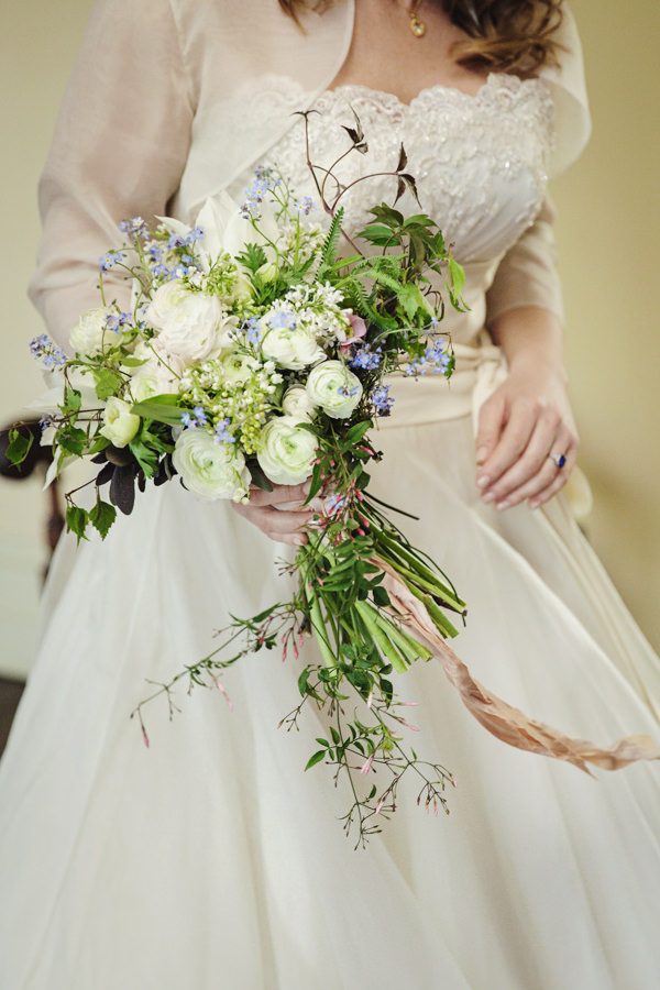 Dinner Party Midsummer Night's Dream Wedding Spring White Bridal Bouquet http://www.gemmawilliamsphotography.co.uk/