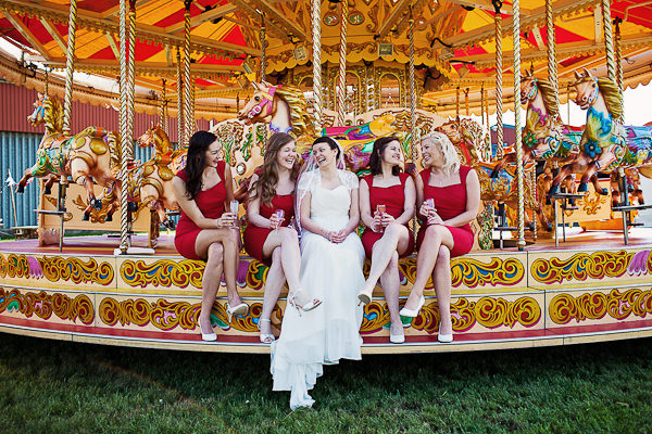 Funfair Farm DIY Wedding Red Bridesmaids http://www.kathrynedwardsphotography.com/