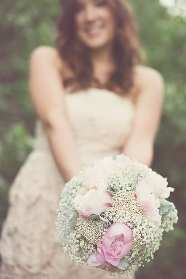 Beautiful Dreamy Texas Wedding Peony Baby Breath Bridal Bouquet http://www.cassieloreephotography.com/