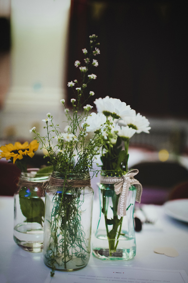 Eclectic Quirky Wedding Jar Flowers http://www.claudiarosecarter.co.uk/