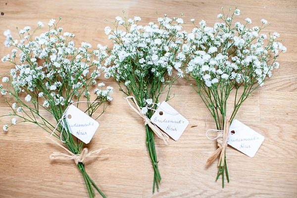 Romantic Rustic Lakeside Wedding Baby Breath Bouquets  http://www.richardjones-photography.com/