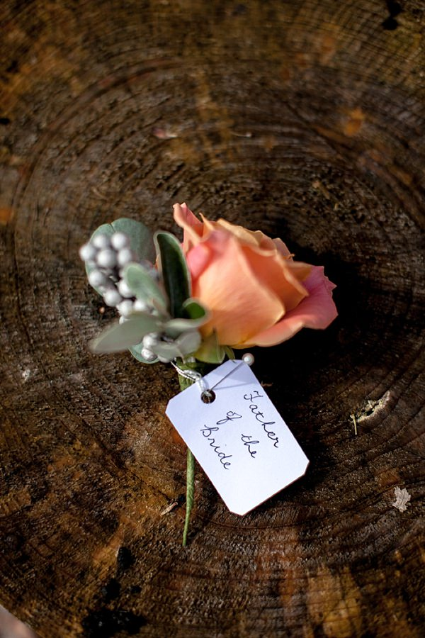 Romantic Rustic Lakeside Wedding Coral Rose Buttonhole http://www.richardjones-photography.com/