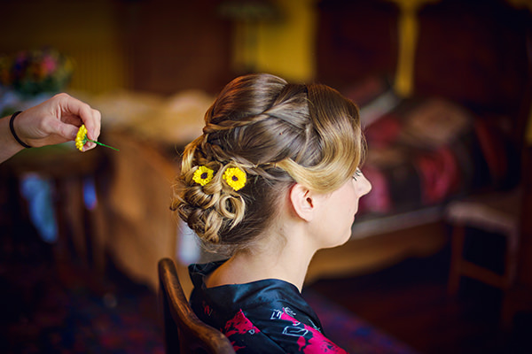 Flowers Hair Style Bride Up Do Multicolour Homemade Wedding http://www.photographybyvicki.co.uk/blog/