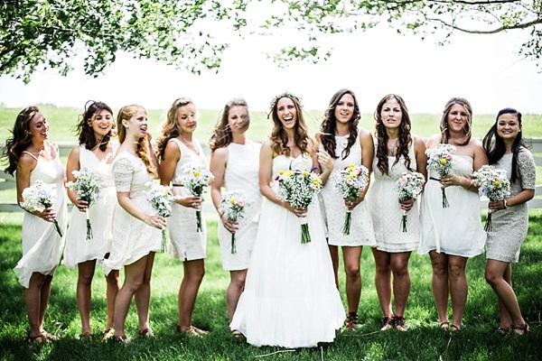 Indie Barefoot Farm Wedding White Mismatched Bridesmaids http://jackandhannah.com/