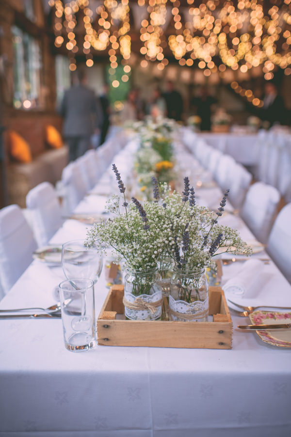 Country Rustic Yellow Barn Wedding Crate Jar Flowers http://www.sophieduckworthphotography.com/