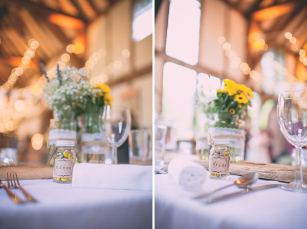 Country Rustic Yellow Barn Wedding Jar Sweet Favours http://www.sophieduckworthphotography.com/
