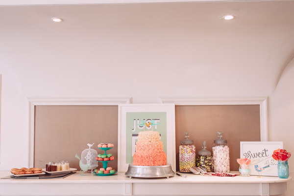 Bright Light Peach Wedding Cake Dessert Sweet Table http://www.annapumerphotography.com/