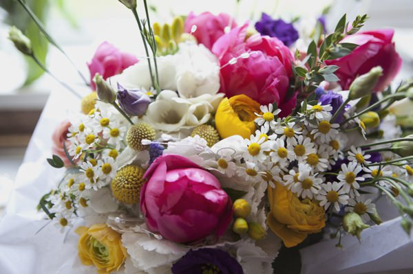Quirky Floral Spring Wedding Peonies Daisy Ranunculus Bridal Bouquet http://www.philippajamesphotography.com/