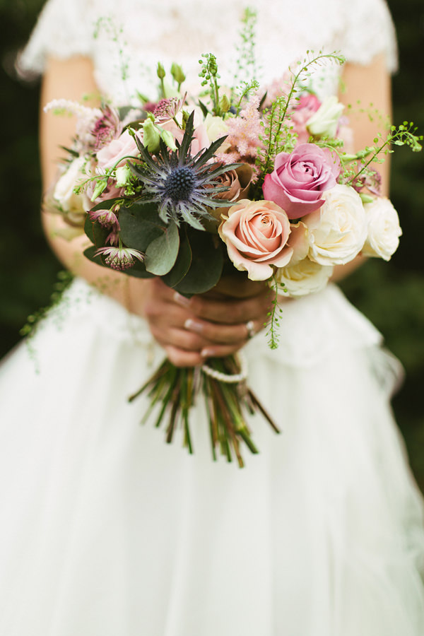 Quirky Stylish Barn Wedding Thistle Rose Bridal Bouquet http://www.mikeandtom.co.uk/